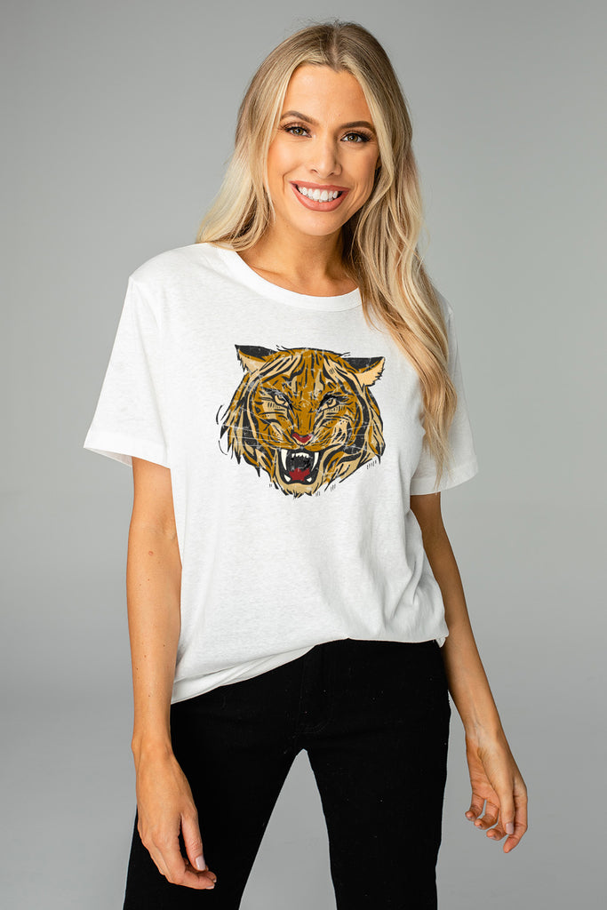BuddyLove Harrison Graphic Tee - Tiger,S / White / Feline