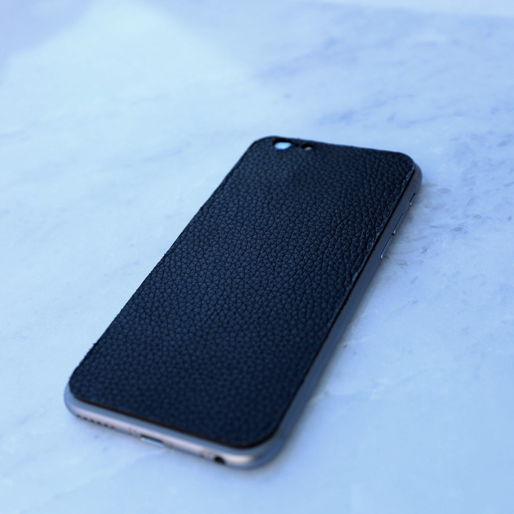 black leather iphone skin