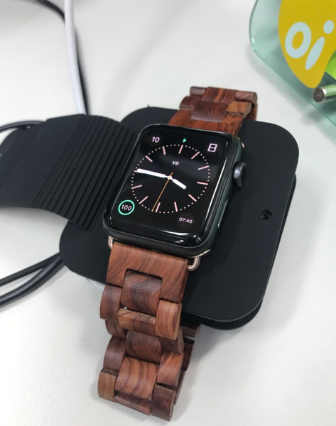 the wooden Apple Watch strap