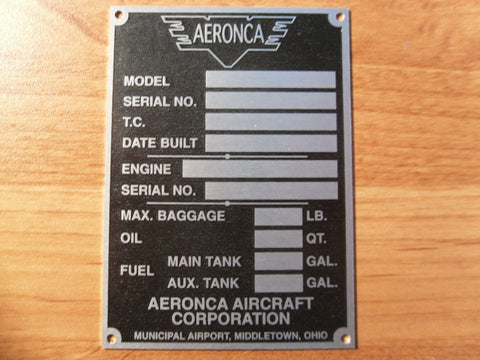 "Aeronca ""Middletown"" Data Plate"