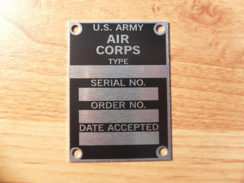 U.S. Army Air Corps Data Plate