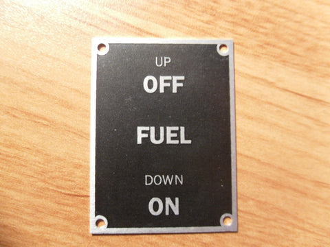Aeronca 7AC Fuel On/Off Placard