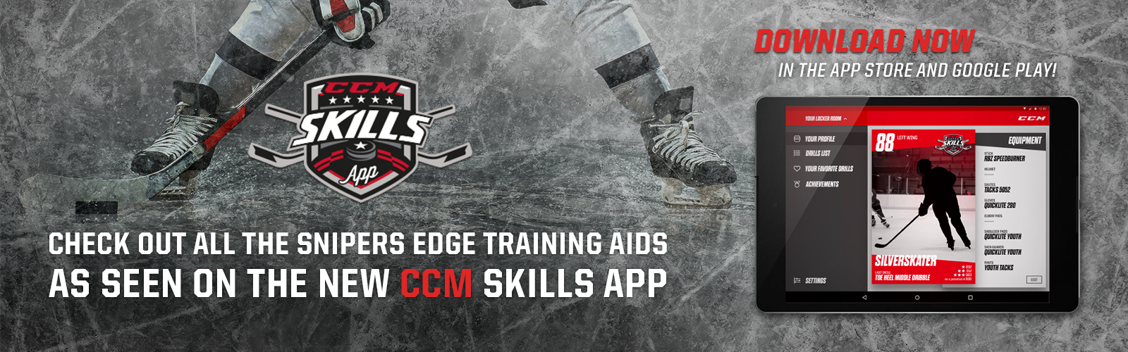 CCM Skills App featuring SnipersEdgeHockey.com Hockey Training Aids