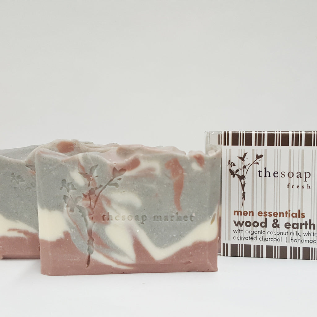 Wood & Earth Coconut Milk Soap With White Clay and Activated Charcoal