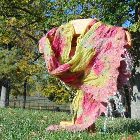 "Nuno Felted Scarf - ""Cabbage Patch"""