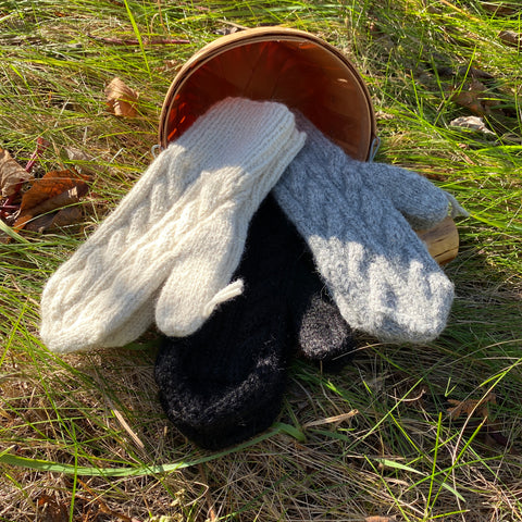 Hand-made Cable-Knit Mittens