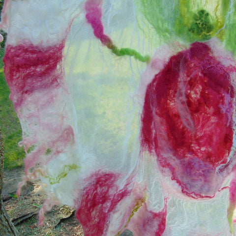 "Nuno Felted Scarf - ""Summer Roses"""