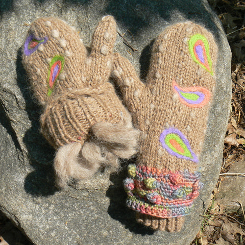 Embellished Thrum Mittens