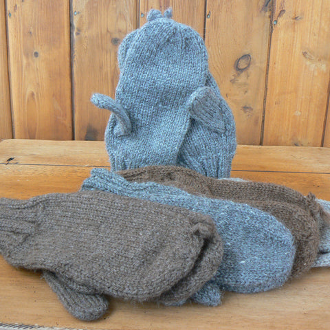 Men's Extra-Large Double Bulky Hand-knit Mittens