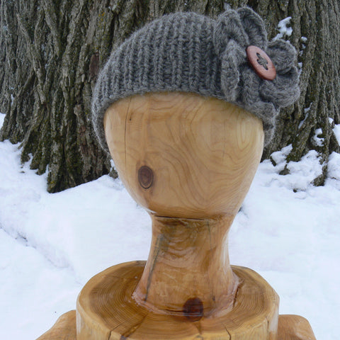 Ear Warmer with Wooden Button and Flower