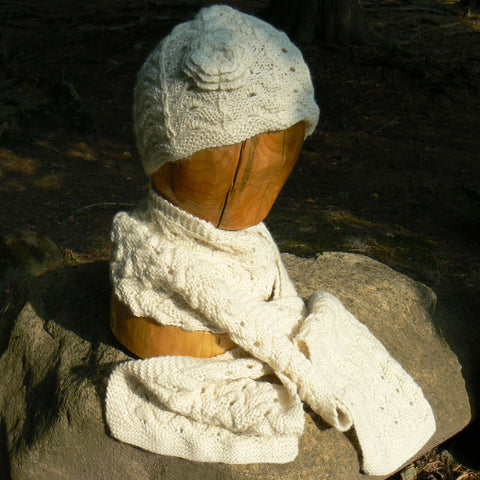 Lace Flower Hat and Scarf