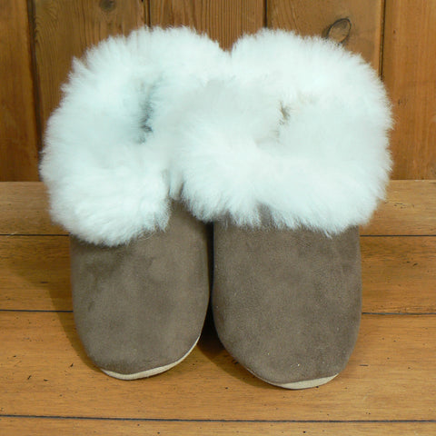 Suede and Alpaca Fur Slippers