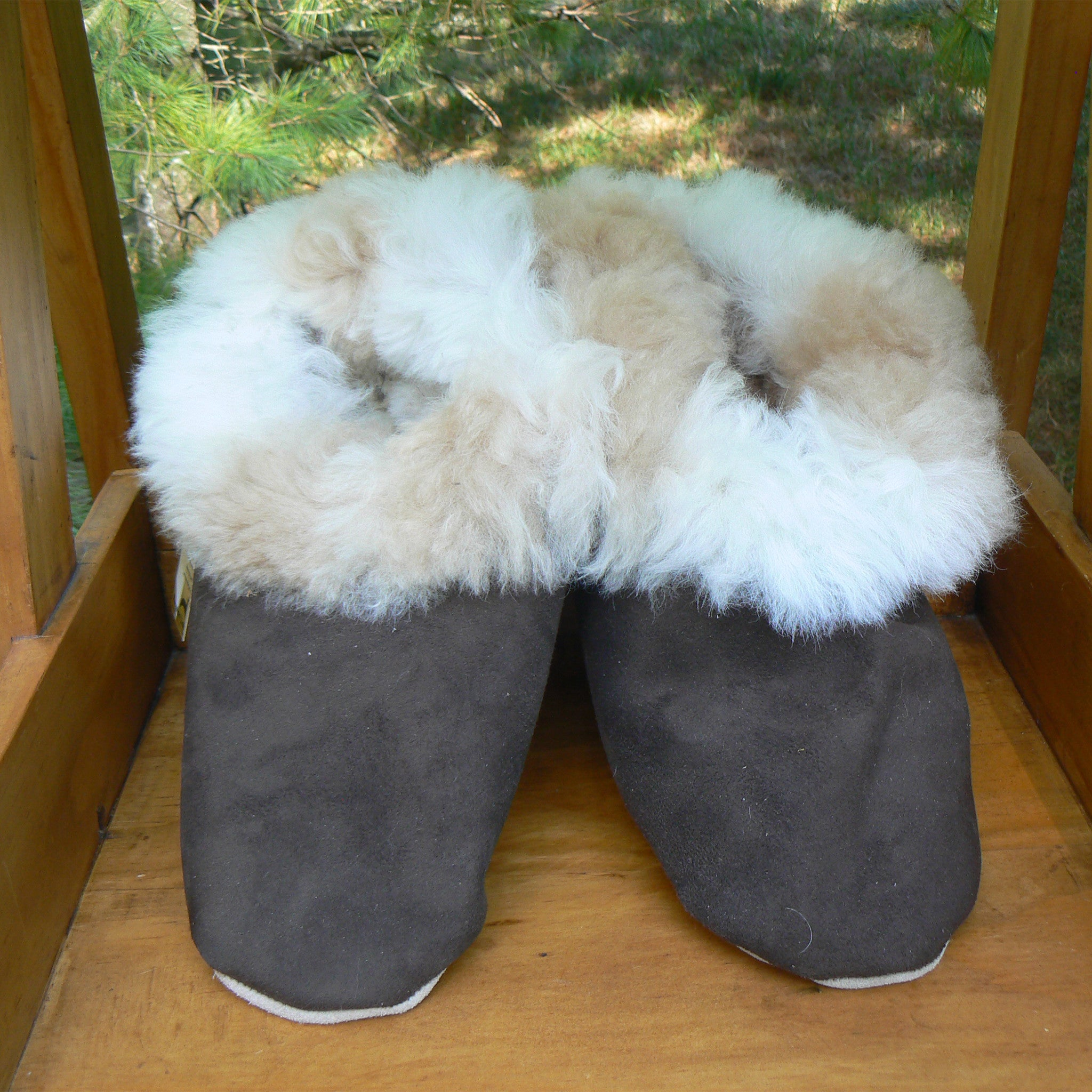 4bb7ba2609e9 Suede and Alpaca Fur Slippers