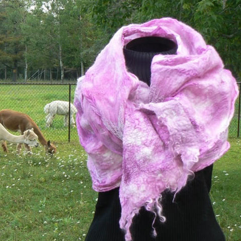 "Nuno Felted Scarf - ""Pretty in Pink"""