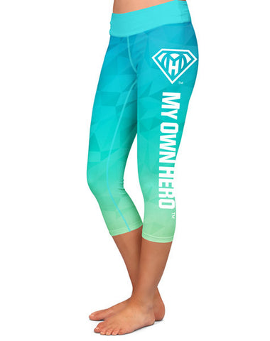 My Own Hero™ - Capri Compression Leggings - Blue/Green Polygon