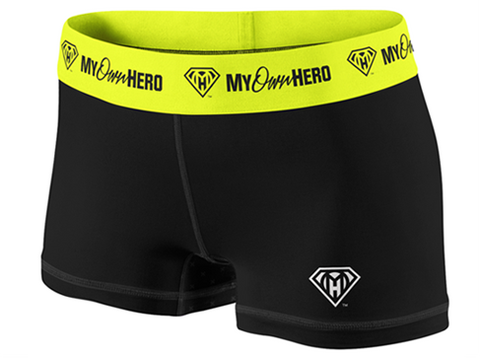 My Own Hero™ - Compression Shorts - Black/Yellow