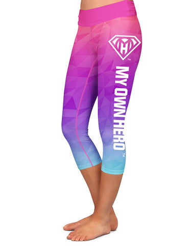 My Own Hero™ - Capri Compression Leggings - Pink/Blue Polygon