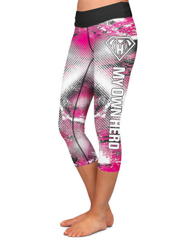 My Own Hero™ - Capri Compression Leggings - Pink Grunge