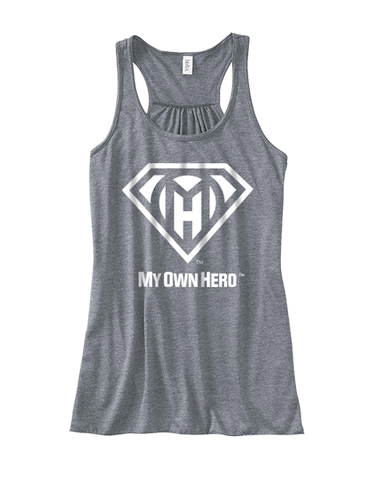 My Own Hero™ Women's Flowy Racerback Tank - Grey