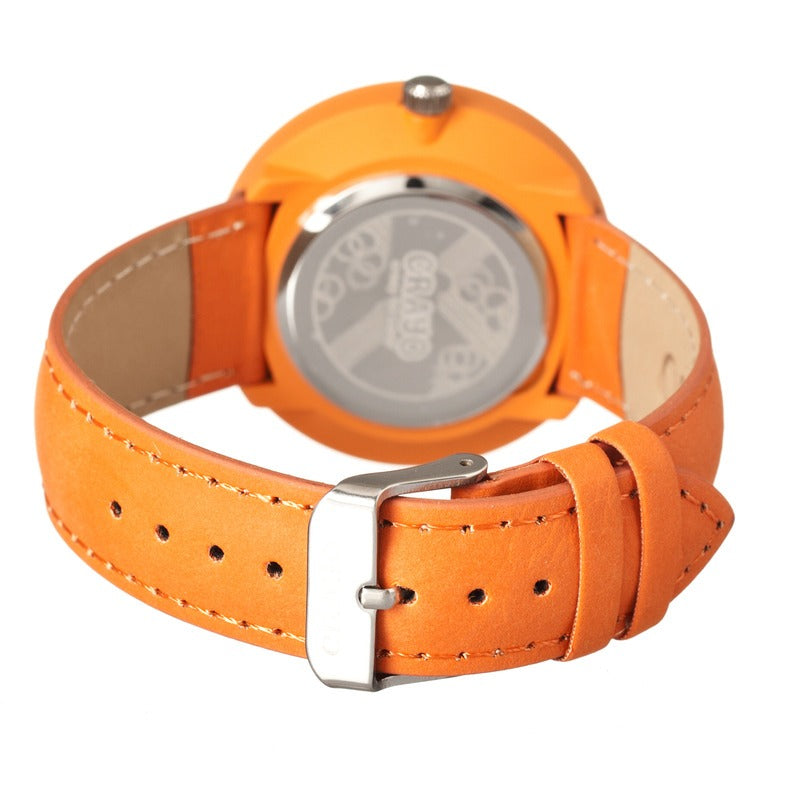 Crayo Pleats Leather-Band Unisex Watch - Orange - CRACR1504