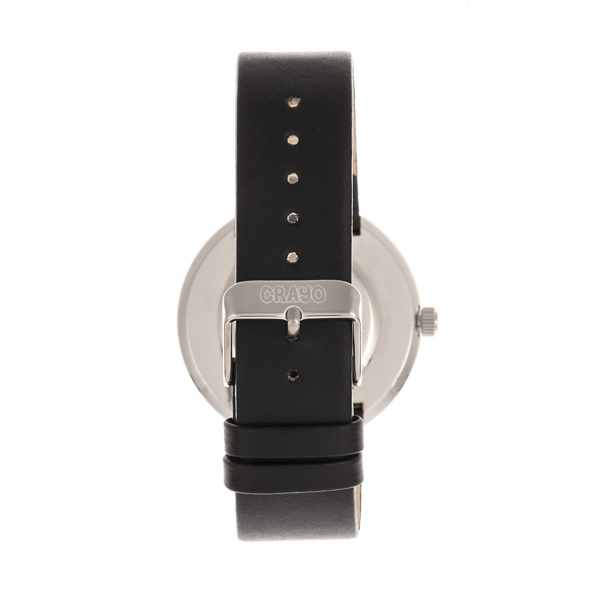 Crayo Button Leather-Band Unisex Watch w/ Day/Date - Black - CRACR0207