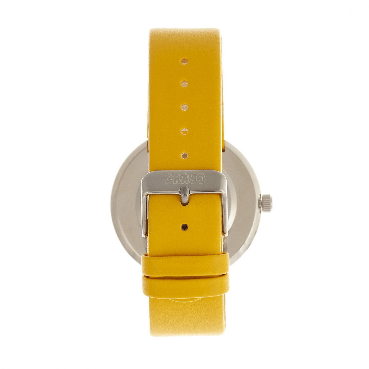 Crayo Button Leather-Band Unisex Watch w/ Day/Date - Yellow - CRACR0204
