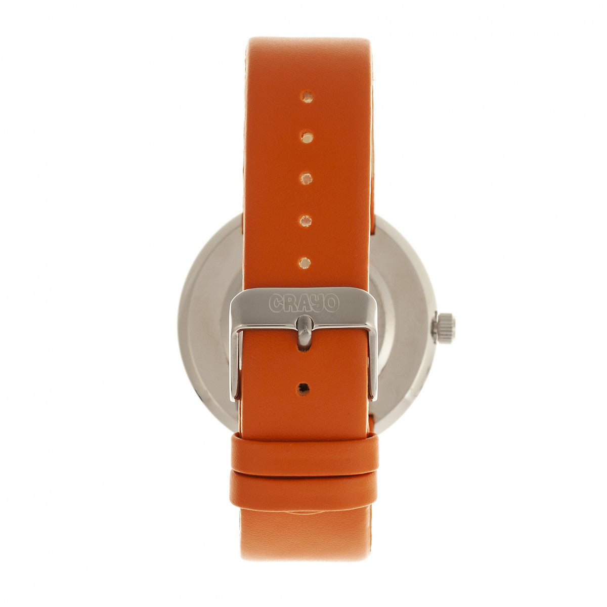 Crayo Button Leather-Band Unisex Watch w/ Day/Date - Orange - CRACR0205