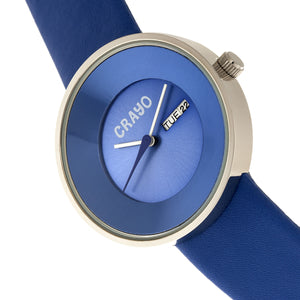 Crayo Button Leather-Band Unisex Watch w/ Day/Date - Blue - CRACR0202
