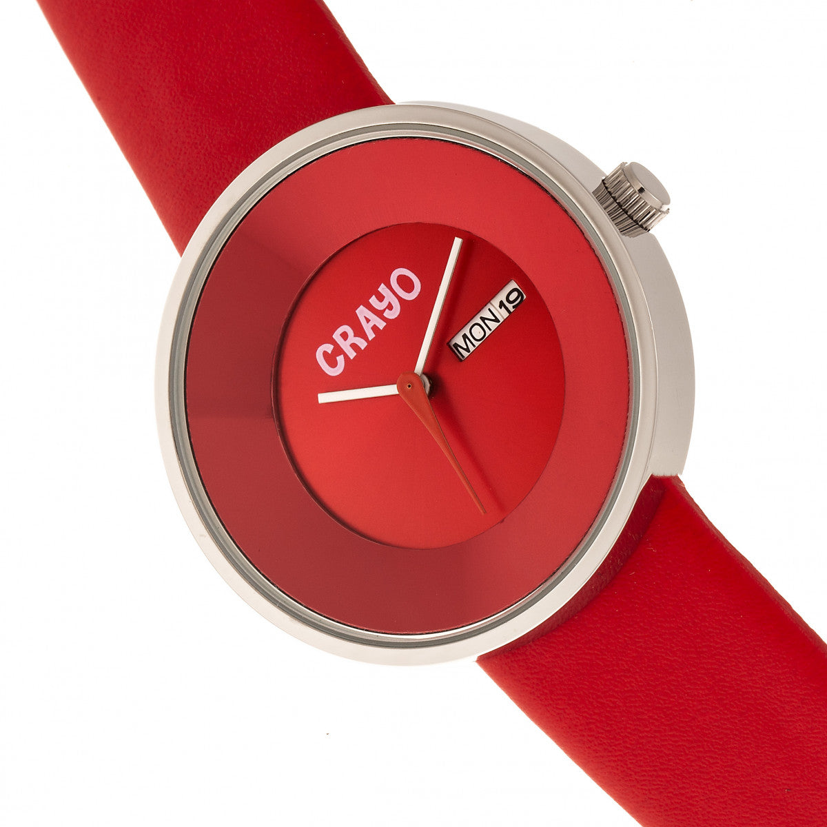 Crayo Button Leather-Band Unisex Watch w/ Day/Date - Red - CRACR0206