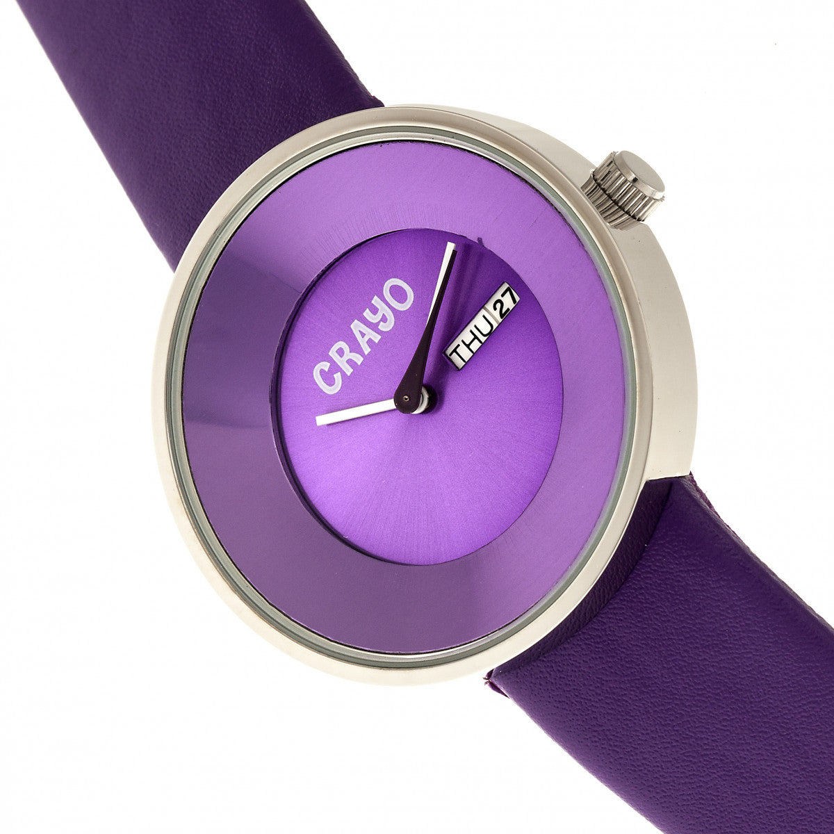 Crayo Button Leather-Band Unisex Watch w/ Day/Date - Purple - CRACR0201