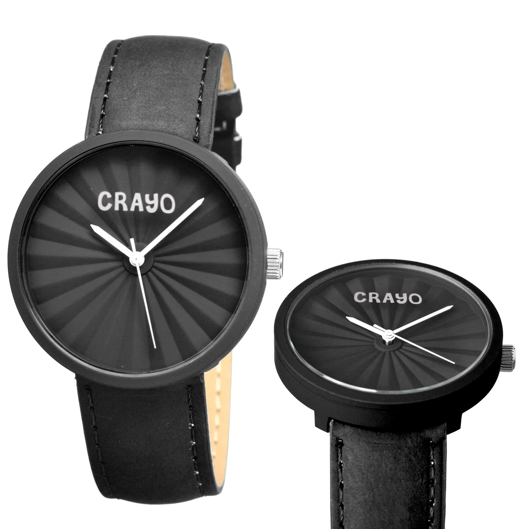 Crayo Pleats Leather-Band Unisex Watch - Black - CRACR1506