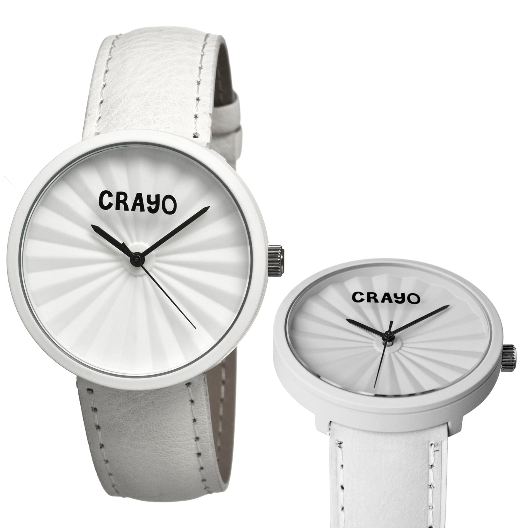 Crayo Pleats Leather-Band Unisex Watch - White - CRACR1501