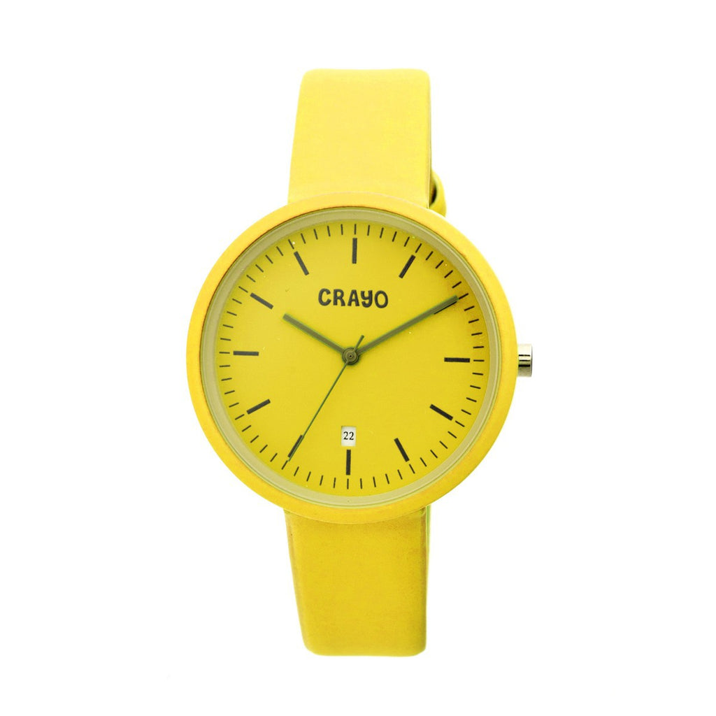 Crayo Easy Leather-Band Unisex Watch w/ Date - Yellow - CRACR2405