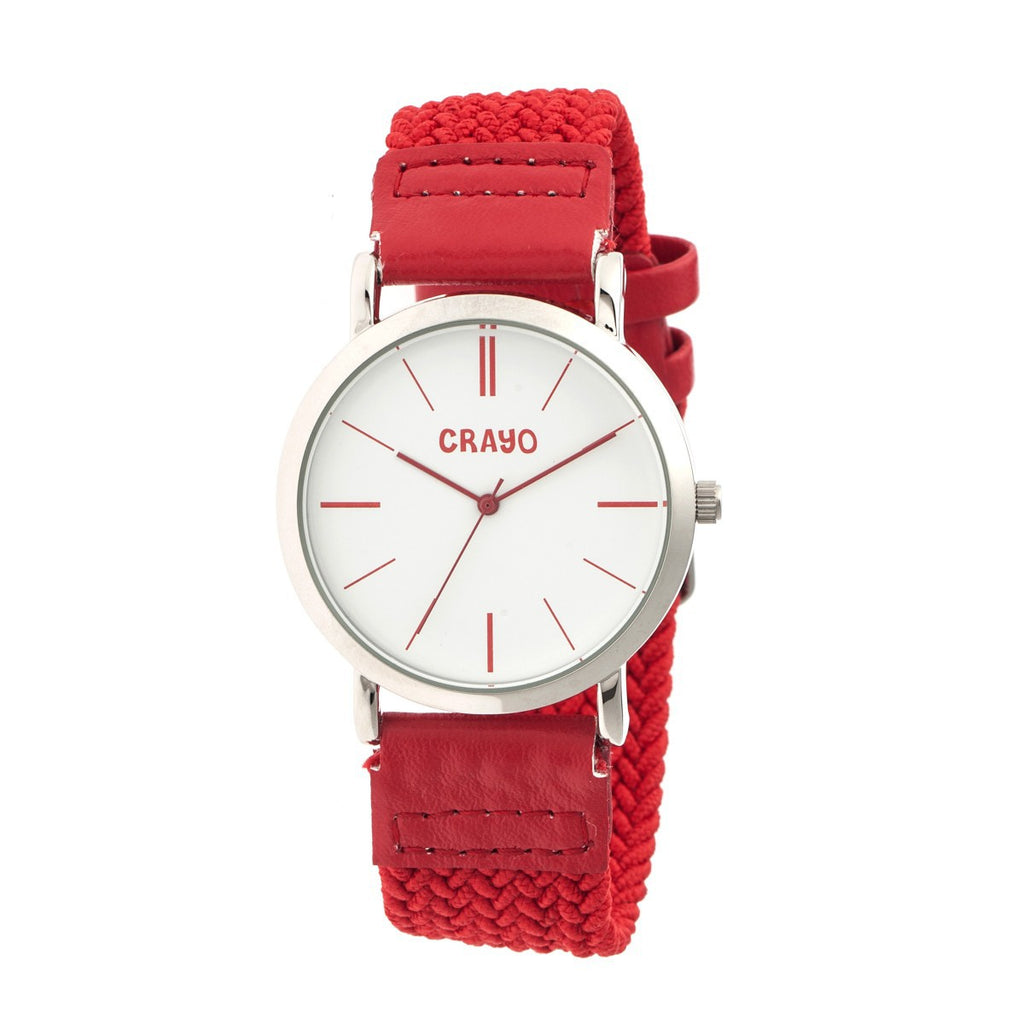 Crayo Symphony Braided-Nylon-Band Unisex Watch - Red - CRACR2701