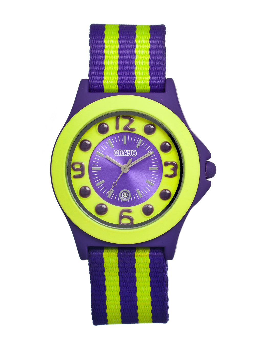 Crayo Carnival Nylon-Band Unisex Watch w/Date - Purple/Lime - CRACR0702