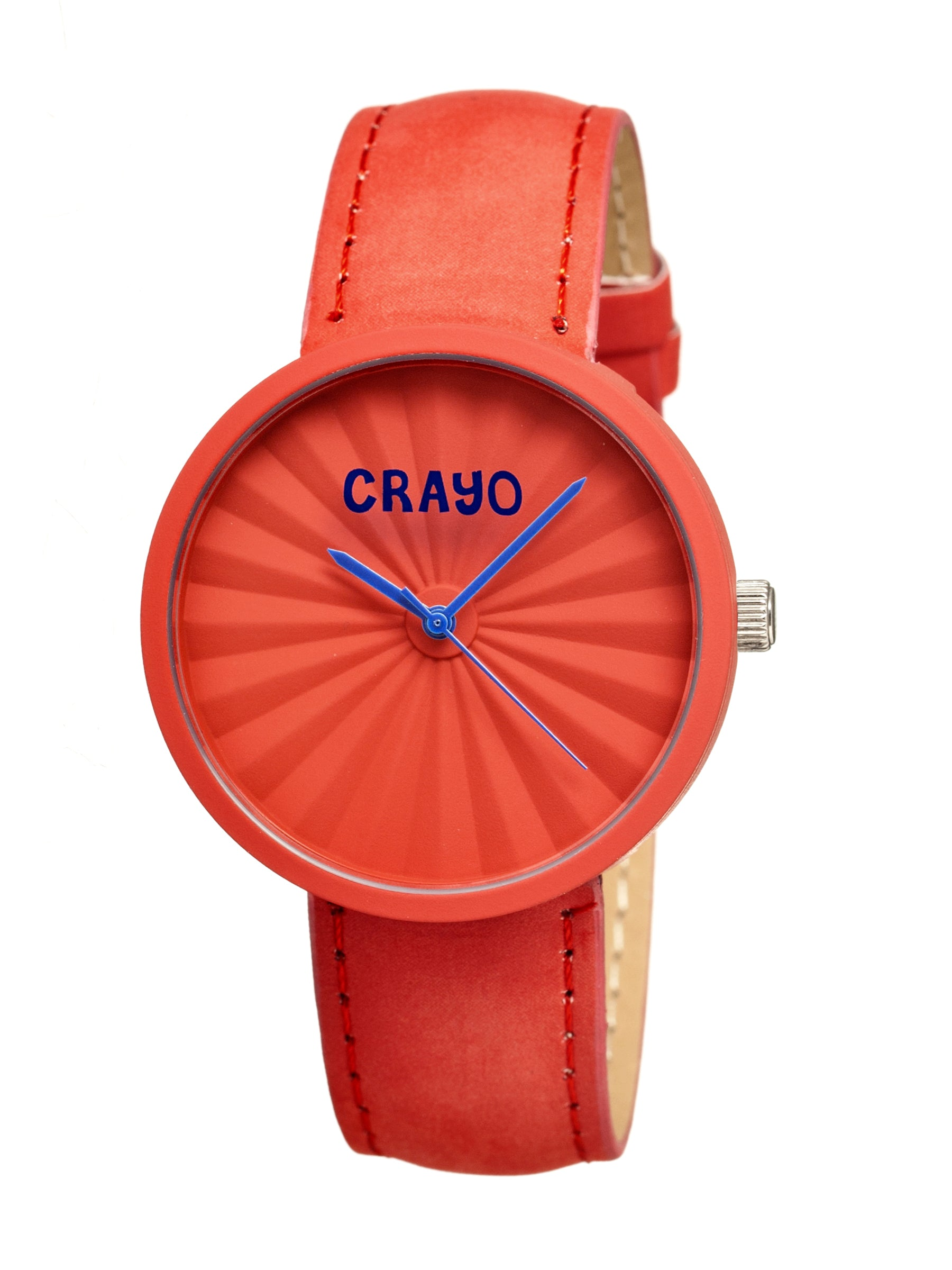 Crayo Pleats Leather-Band Unisex Watch - Red - CRACR1505