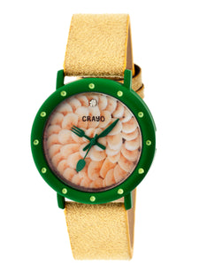 Crayo Slice Of Time Suede-Band Ladies Watch - Green/Yellow - CRACR2104