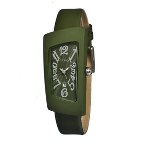 Crayo Angles Leather-Band Ladies Watch w/Date - Olive - CRACR0408