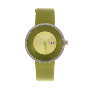Crayo Button Leather-Band Unisex Watch w/ Day/Date