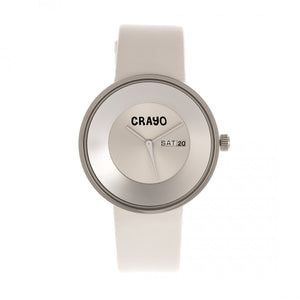 Crayo Button Leather-Band Unisex Watch w/ Day/Date - White - CRACR0208