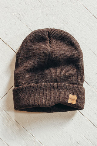 Brown fleece lined beanie.