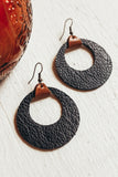 Jones & Lake Leather Double Circle Earrings - Black