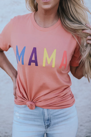 MAMA Graphic tee in colorful coral.