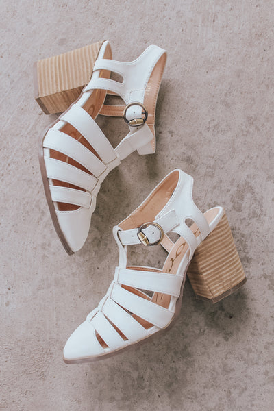 Off White ankle strap sandal heels.