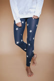 Star print yoga pants. Navy and white.