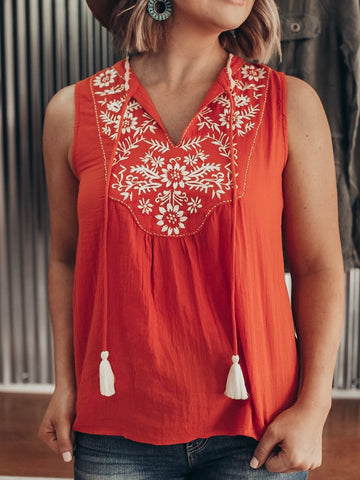 Sleeveless Embroidered Boho Top