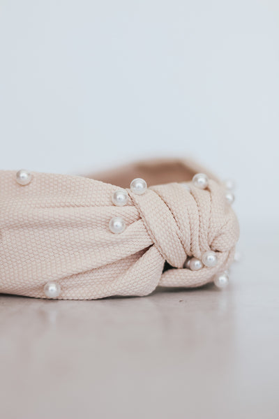 Spring Pearl Top Knot Headband