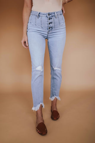 Women's Hidden high rise button fly jeans with yoke detail.