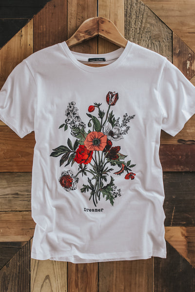Women's off white floral graphic tee.