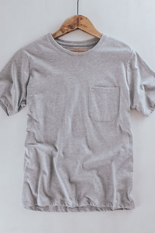 Women's Richer Poorer pocket crew tee in heather grey.